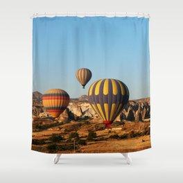 in a hot-air balloon over Cappadocia Shower Curtain