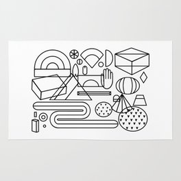 Geometric feast; geometry pattern; geometry illustration;coloring book Rug