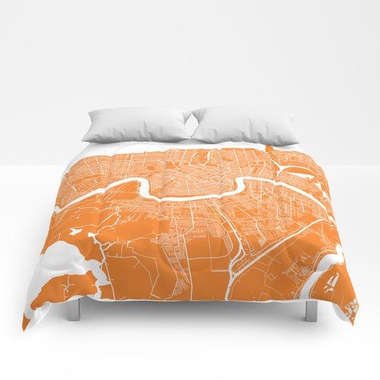 New Orleans map orange Comforters
