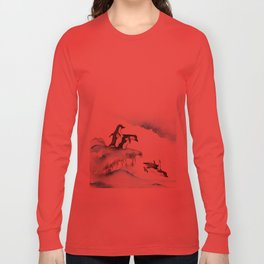 Jumping Penguins - Watercolor Long Sleeve T-shirt