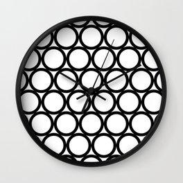 Modern Geometric White and Black Rings Wall Clock