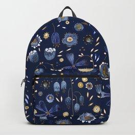 Indigo Flowers at Midnight Backpack