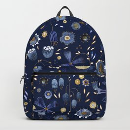 Indigo Flowers at Midnight Backpack
