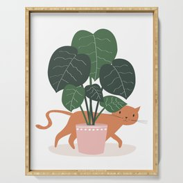 Cat And Plant Serving Tray