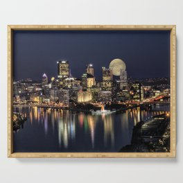 Moon Rise Over Pittsburgh Serving Tray