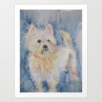 westie Art Prints featuring Cute Westie by Gina Rahman
