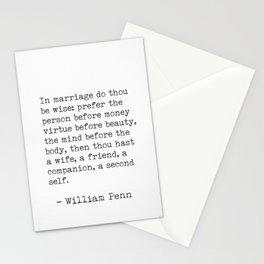 William Penn about marriage Stationery Cards