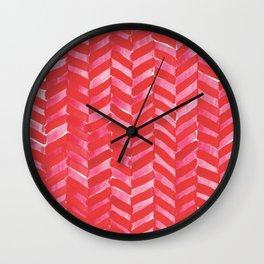 Hot Pink Herringbone Wall Clock