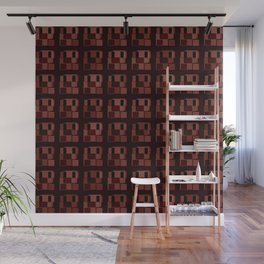 Dark tile of brown intersecting rectangles and interweaving bricks. Wall Mural