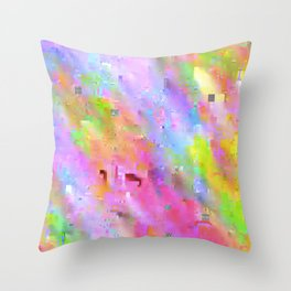 Neon Glitch Throw Pillow
