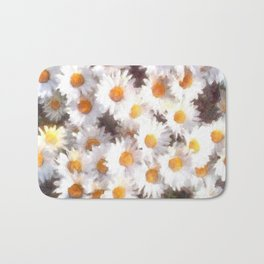 Spring Daisy Wildflower Watercolor Bath Mat