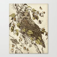 botanical Canvas Prints featuring Great Horned Owl by Teagan White