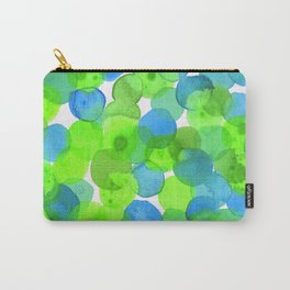Watercolour Circles- Bright Green and Blue Carry-All Pouch