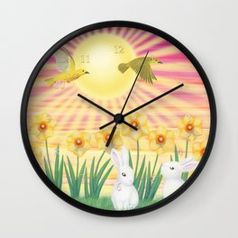 bunnies, daffodils, yellow warblers, & sunshine Wall Clock