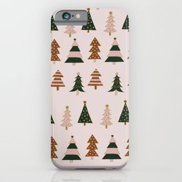 Pink Christmas Tree Pattern iPhone Case