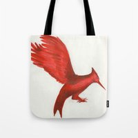 mockingjay Tote Bags featuring Mockingjay CatchingFire by Blanca MonQnill Sole