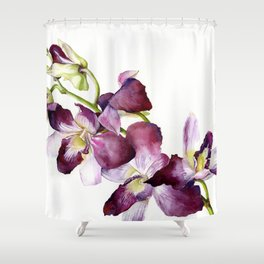 Radiant Orchids: Magenta Dendrobiums (Flipped Orientation) Shower Curtain