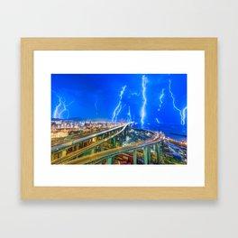 Hong Kong Lightning Framed Art Print