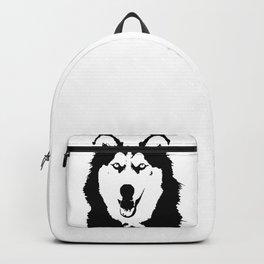 Black and white husky Backpack