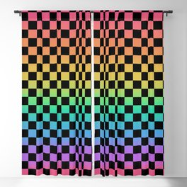 Rainbow and Black Checkerboard Blackout Curtain