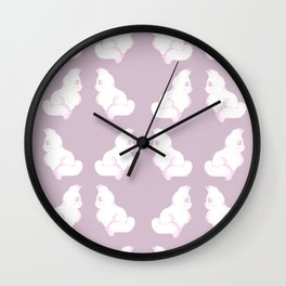 Grapefruit Cat - Linear Dodge on Purple Wall Clock
