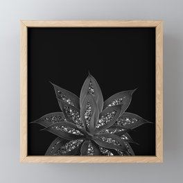 Gray Black Agave with Black Silver Glitter #2 #shiny #tropical #decor #art #society6 Framed Mini Art Print
