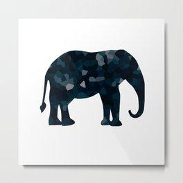Navy Blue Polygon Elepephant Metal Print
