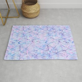 Abstract pink teal lavender watercolor marble pattern Rug
