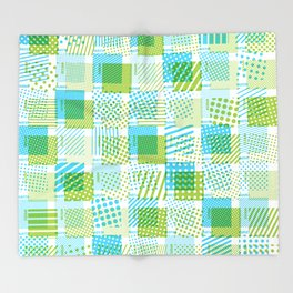 Halftone Moiré - Blue & Green Throw Blanket