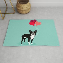 Boston Terrier Valentine heart balloons for pet owners and dog lovers gift for someone they love Rug