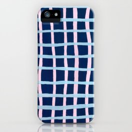 Pink and Blue Grid iPhone Case