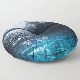 Full Moon over Ocean Floor Pillow