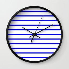 Horizontal Lines (Blue/White) Wall Clock