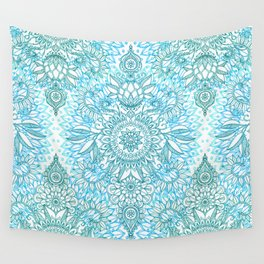 Turquoise Blue, Teal & White Protea Doodle Pattern Wall Tapestry