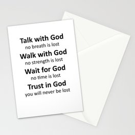 Trust in God, you will never be lost-black Stationery Cards