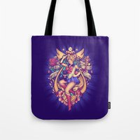sailormoon Tote Bags featuring In the Name of the Moon by Megan Lara