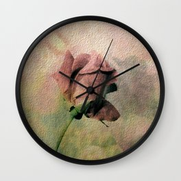 Painterly Pink Rose Bud Wall Clock