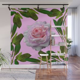 PINK GARDEN ROSE GREEN LEAVES ABSTRACT Wall Mural