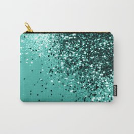 Sparkling Turquoise Lady Glitter #1 #shiny #decor #art #society6 Carry-All Pouch