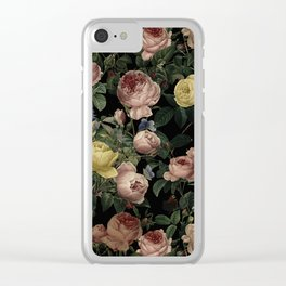 Vintage Roses and Iris Pattern - Dark Dreams Clear iPhone Case