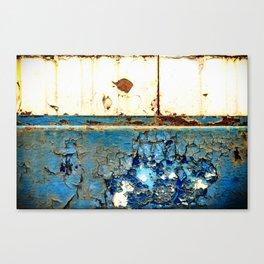 Industrial Rust on Blue Metal Canvas Print