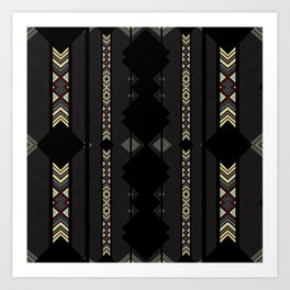 Southwestern Black Diamond Stripe Patterns Art Print