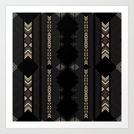 Southwestern Black Diamond Stripe Patterns Art Print