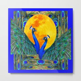 FULL GOLDEN MOON & 2  BLUE PEACOCKS PATTERN ART Metal Print