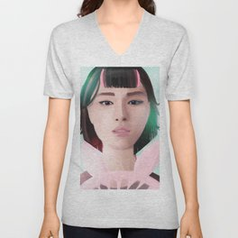 South Korean Girl With Hair Rollers and Bunny Ear Fan Portrait for K-Pop Lovers Unisex V-Neck