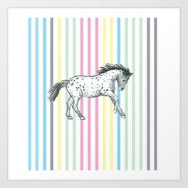 Candy cane horse Art Print