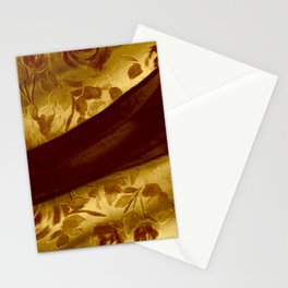 golden drape with marsala flowers Stationery Cards