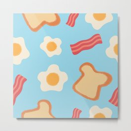 Bread, Bacon and Egg Pattern on Blue Background Metal Print