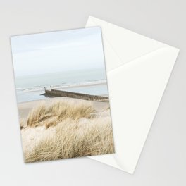Dunes, beach, sea and beach poles, coastal photography art print, the Netherlands Stationery Cards