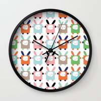 bunnies Wall Clocks featuring bunnies by PETITE PATATE